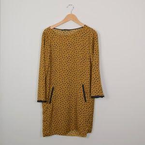 Zara Long Sleeve Dot Shift Dress
